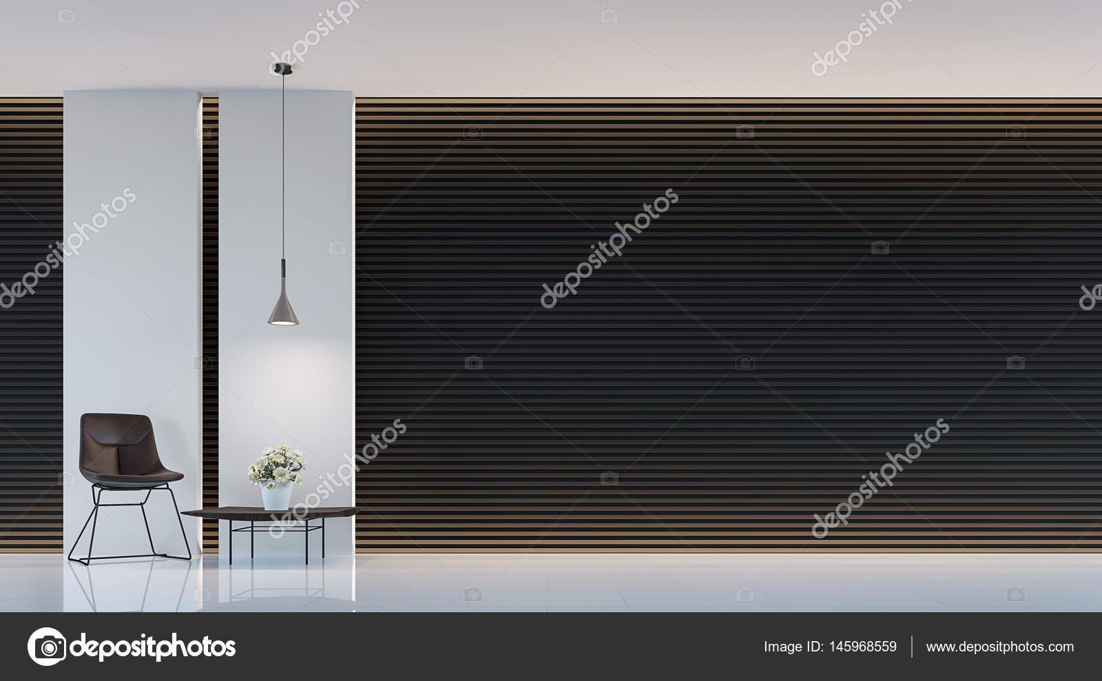 Modernen Schwarz Weiß Wohnzimmer Interior 3d Render Bild. Eine Leere Wand  Mit Reinem Weiß. Wand Dekorieren Mit Extrudieren Horizont Linienmuster Und  ...