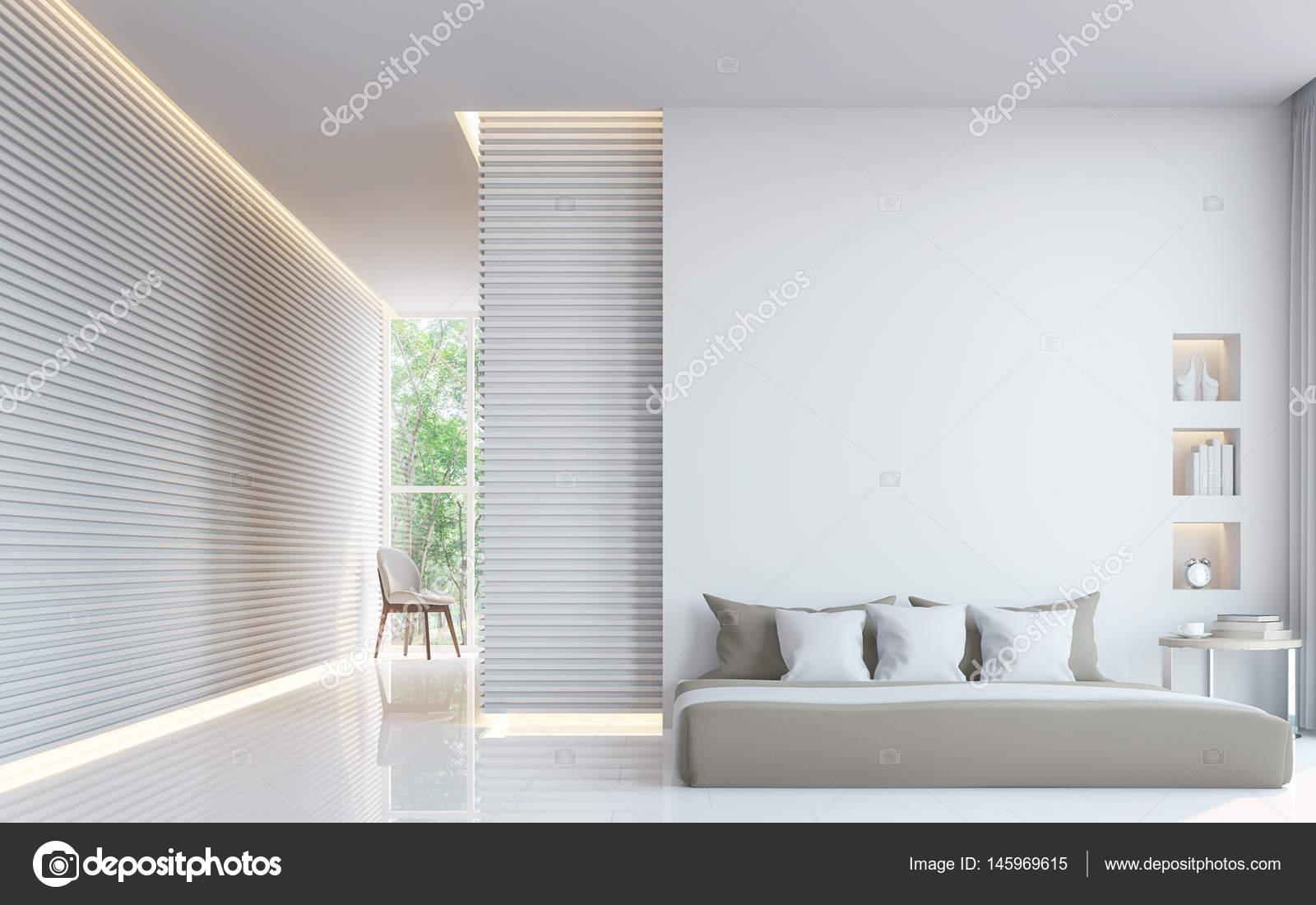 Moderne witte slaapkamer interieur d rendering afbeelding