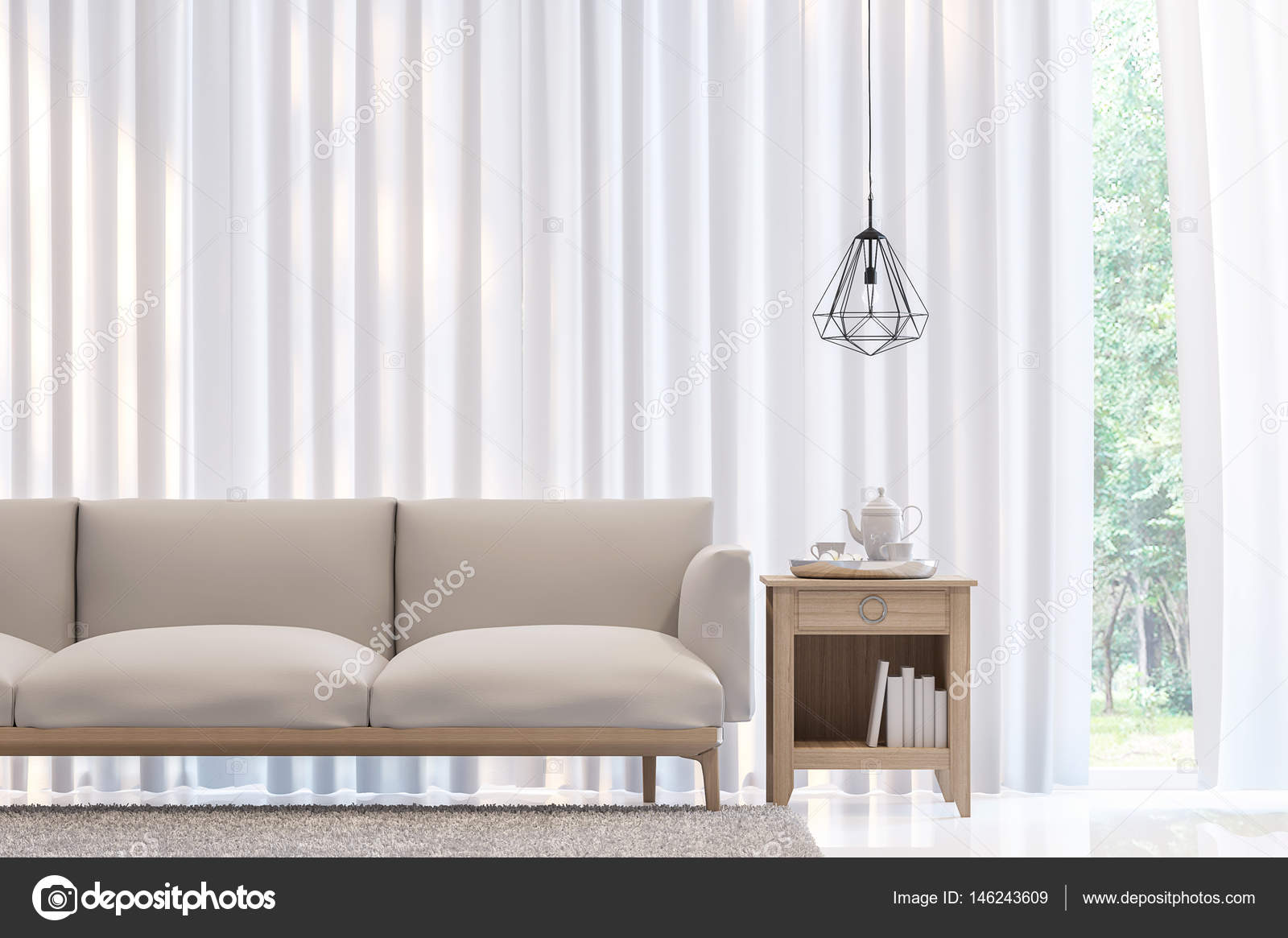 Moderne Weiße Schlafzimmer Minimalstil 3D Rendering Image.There Sind Zimmer  Mit Weißen Durchscheinenden Vorhang Und Weiße Möbel Dekorieren U2014 Foto Von  Onzon