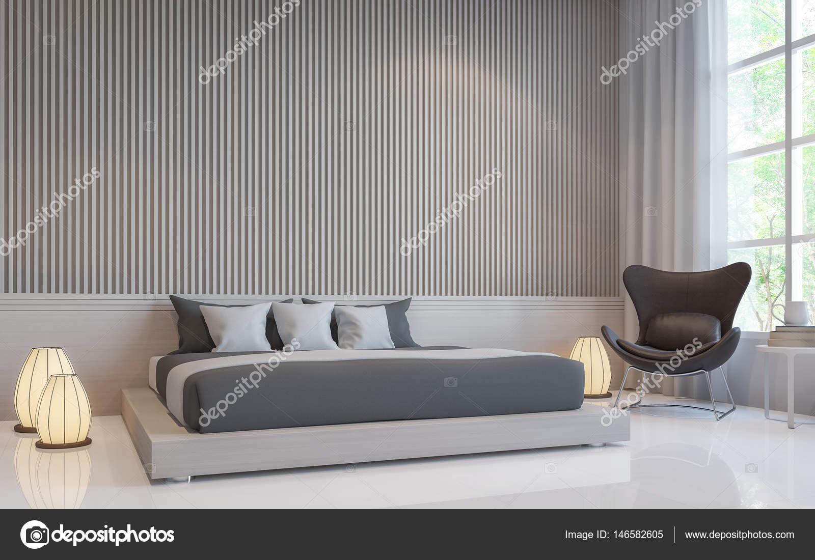 Moderne Weisse Schlafzimmer Interior 3d Render Bild Stockfoto