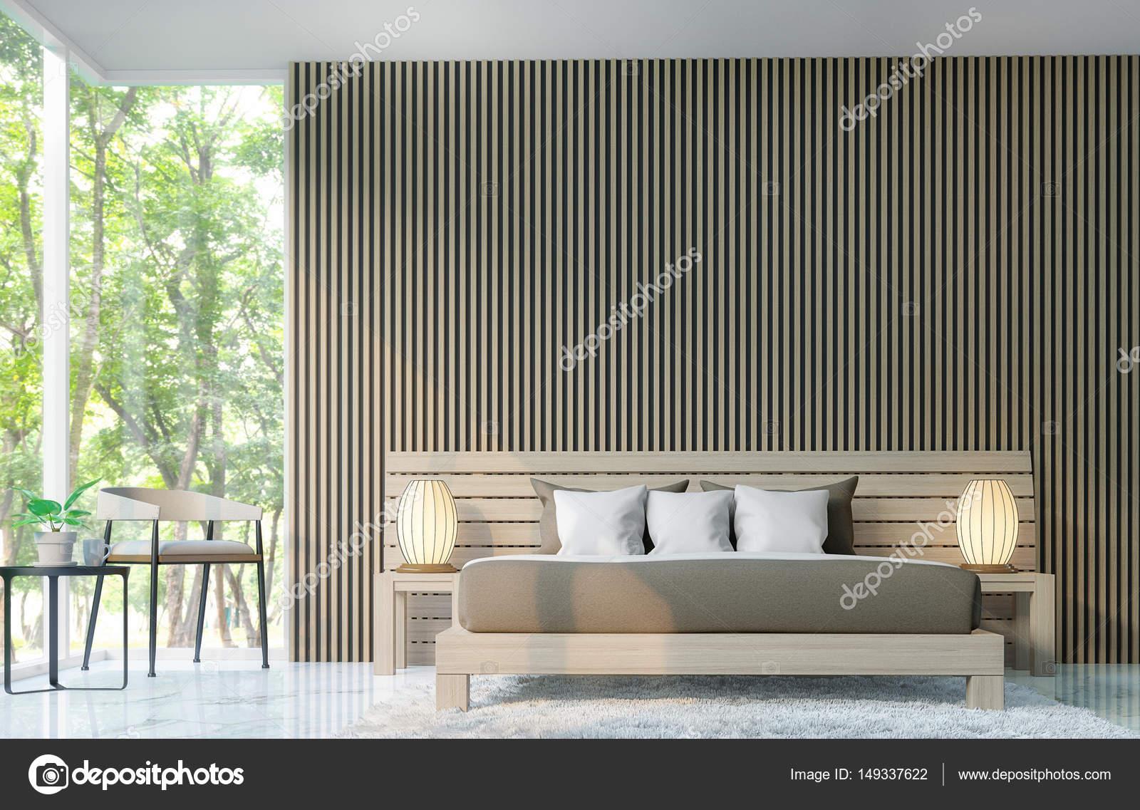 Moderne Schlafzimmer dekorieren Wände mit hölzernen Gitter 3d Render ...