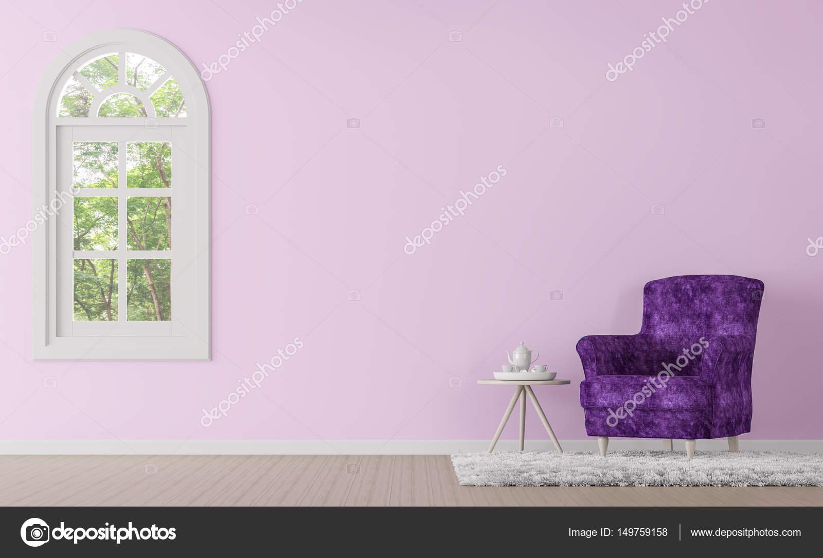 Moderne Klassische Wohnzimmer Mit Lila Und Rosa Farbe 3d Render Bild U2014  Stockfoto