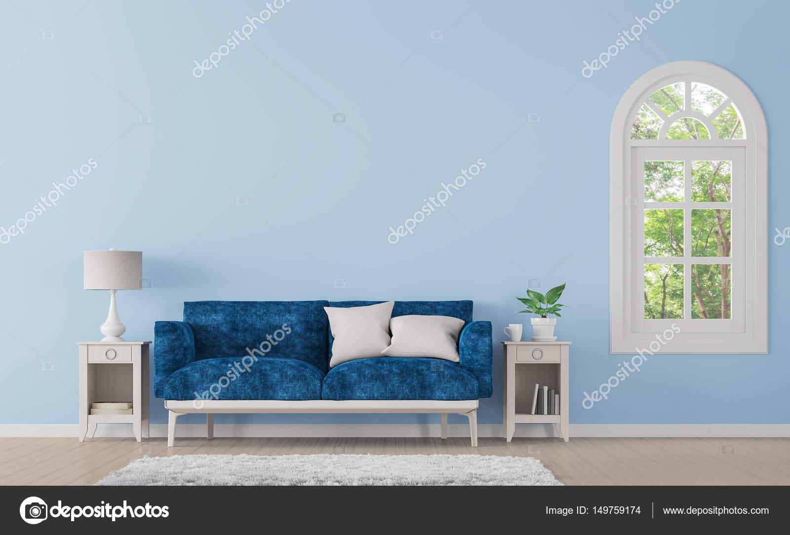 Moderne klassische Wohnzimmer mit blauer Farbe 3d Render Bild ...