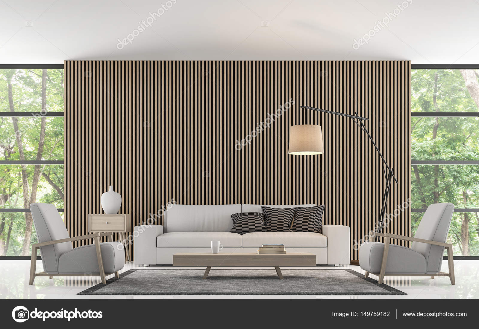 Moderne woonkamer decoreren muur met houten rooster 3d rendering ...