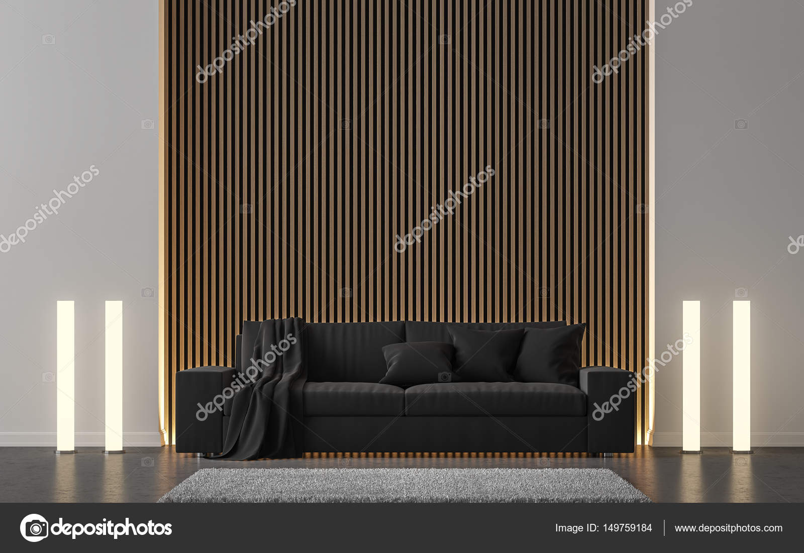 Moderne Wohnzimmer schmücken die Wand mit hölzernen Gitter 3d Render ...