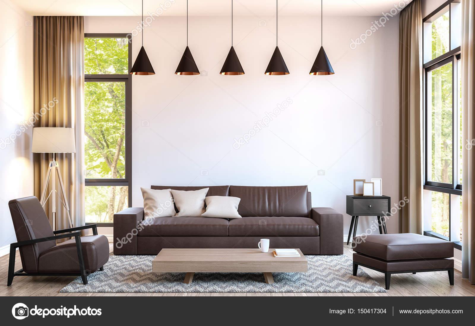 Moderne Wohnzimmer schmücken mit braunem Leder Möbel 3d Render Bild ...