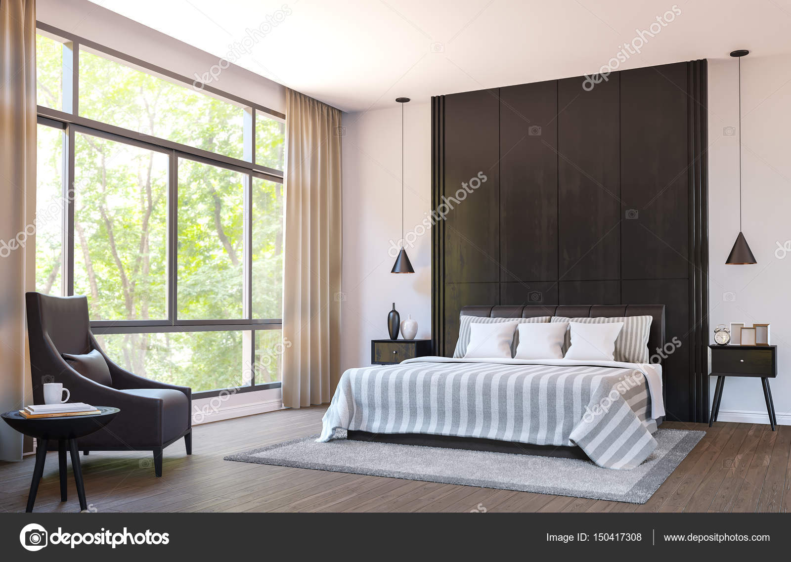 Moderne slaapkamer decoreren met bruin lederen meubels en zwart hout ...