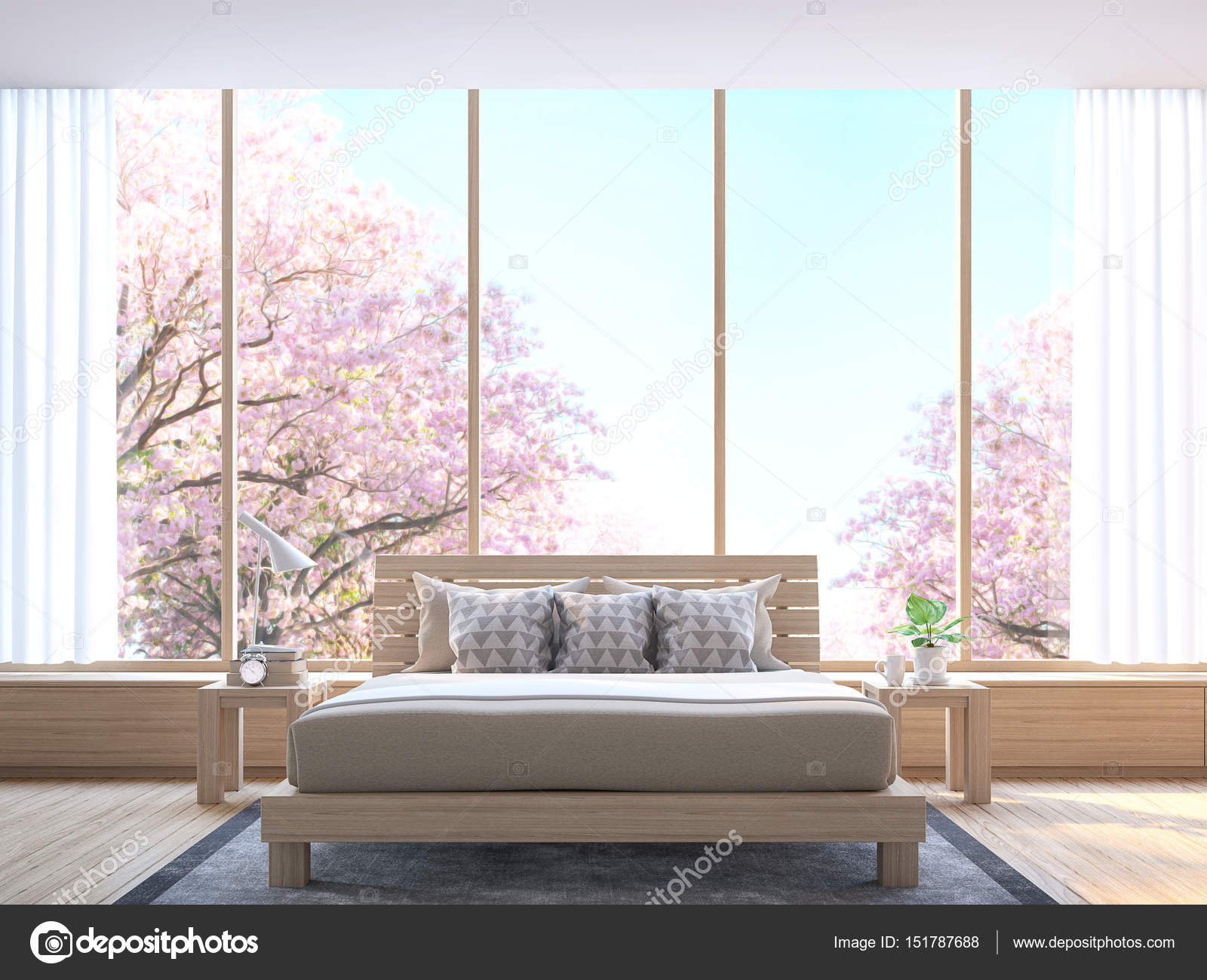 Moderne Schlafzimmer Dekorieren Zimmer Mit Holz 3D Bild Rendern U2014 Stockfoto