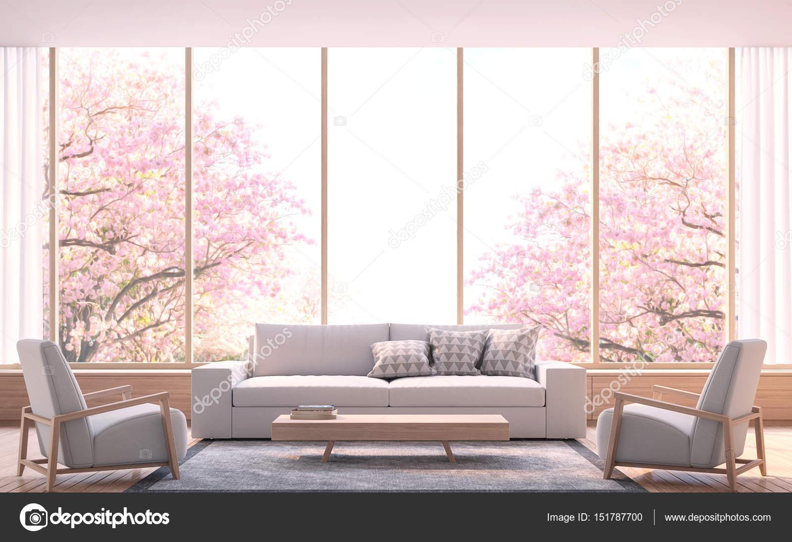 Moderne Wohnzimmer schmücken Raum mit Holz 3D-Bild rendern ...