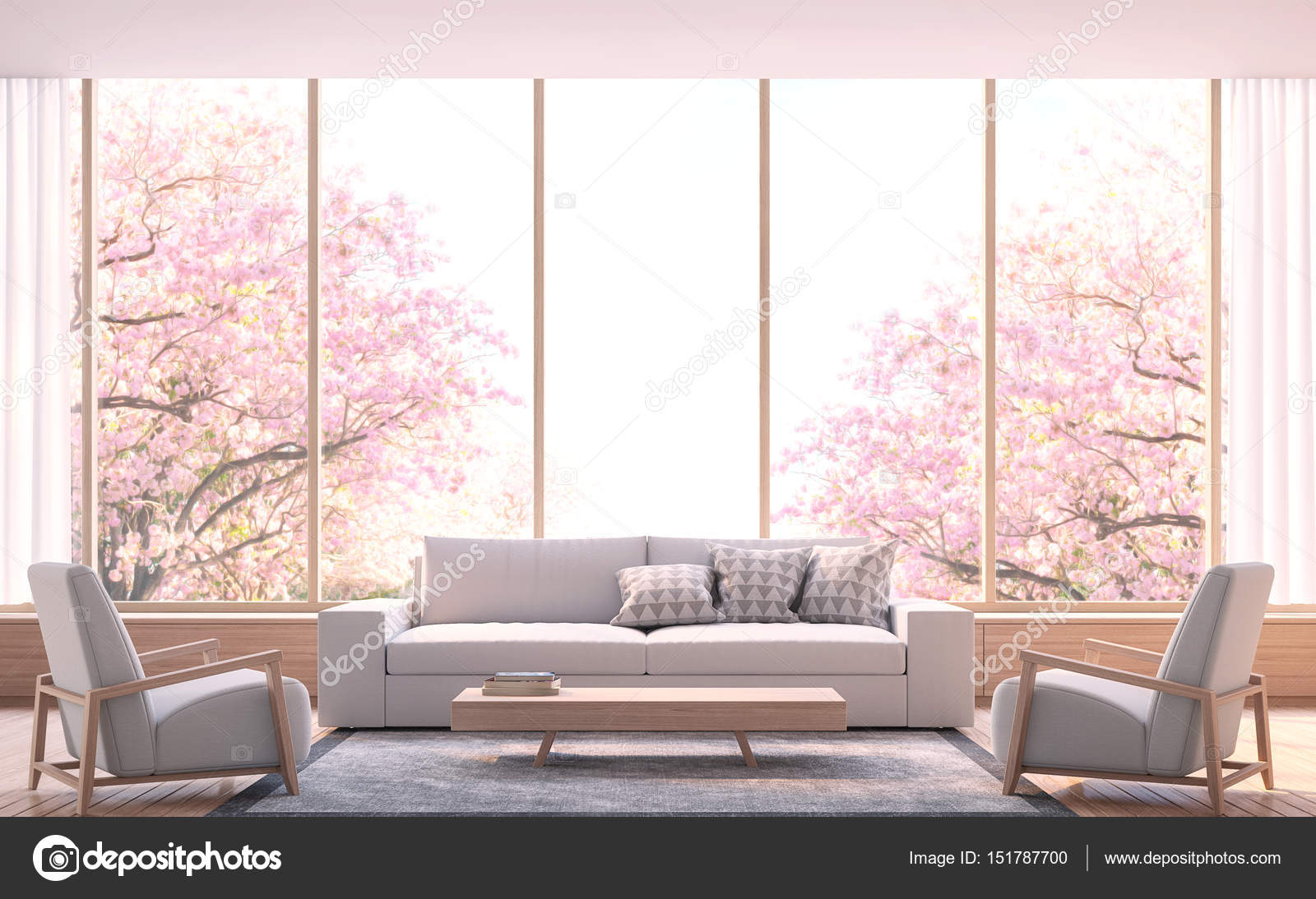 Moderne woonkamer decoreren kamer met hout 3d rendering beeld ...