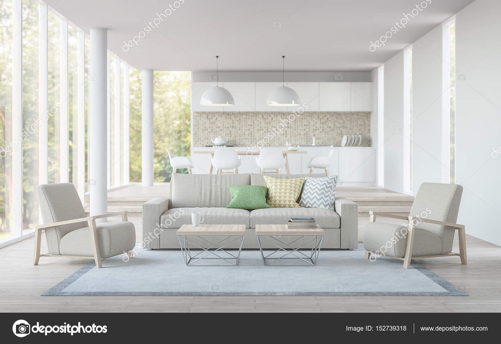 Modern white living,dining room and kitchen 3D rendering image ...