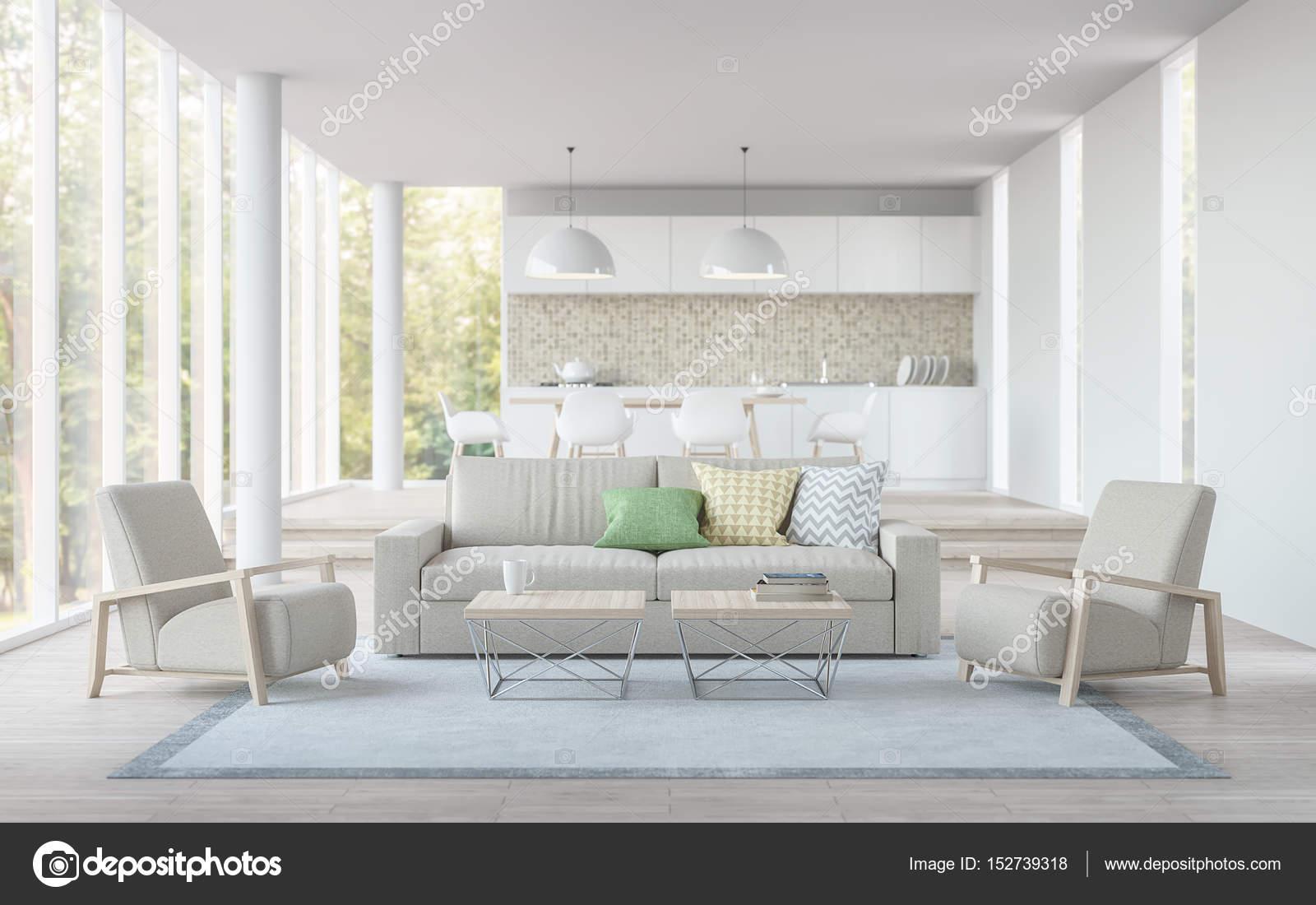 Modern living, salle à manger et cuisine 3d rendu image blanc ...