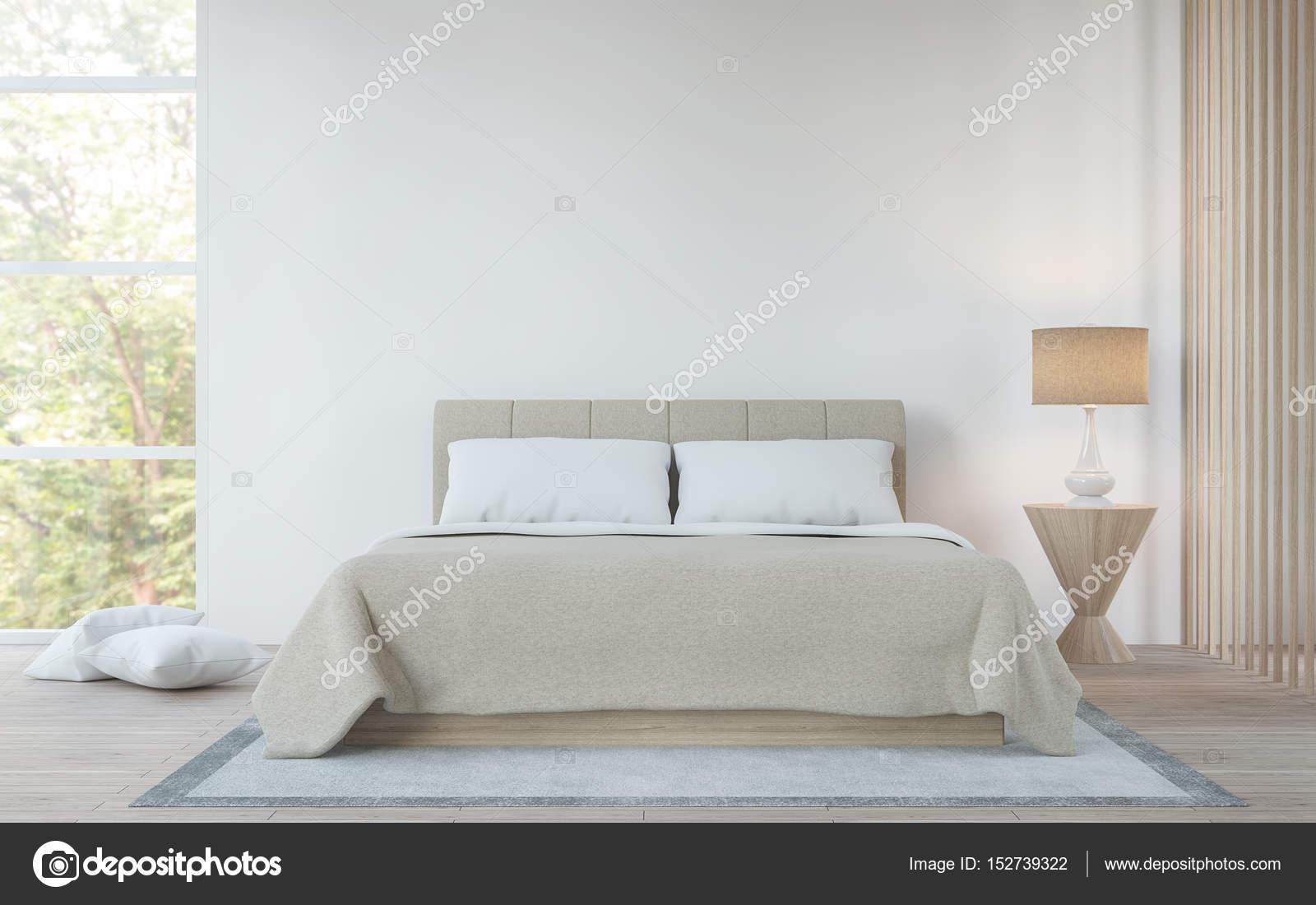 Moderne weiße Schlafzimmer im Wald 3d Render Bild — Stockfoto ...
