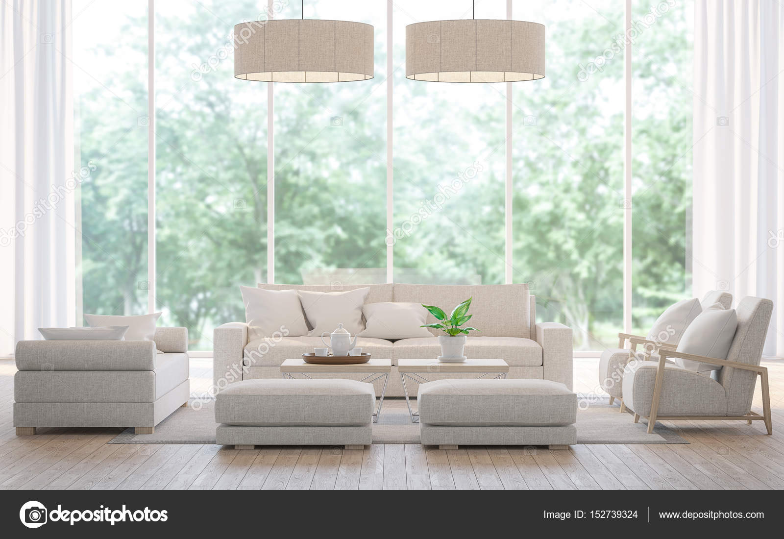 Moderne witte woonkamer in het forest 3d Rendering beeld — Stockfoto ...