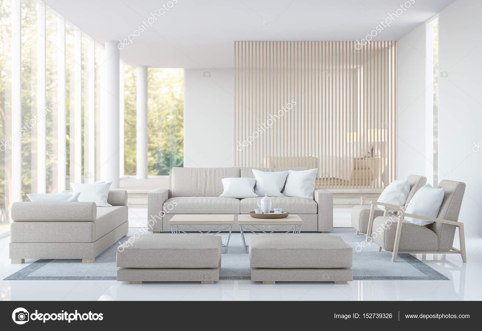 Moderne witte woonkamer en slaapkamer 3d rendering beeld — Stockfoto ...