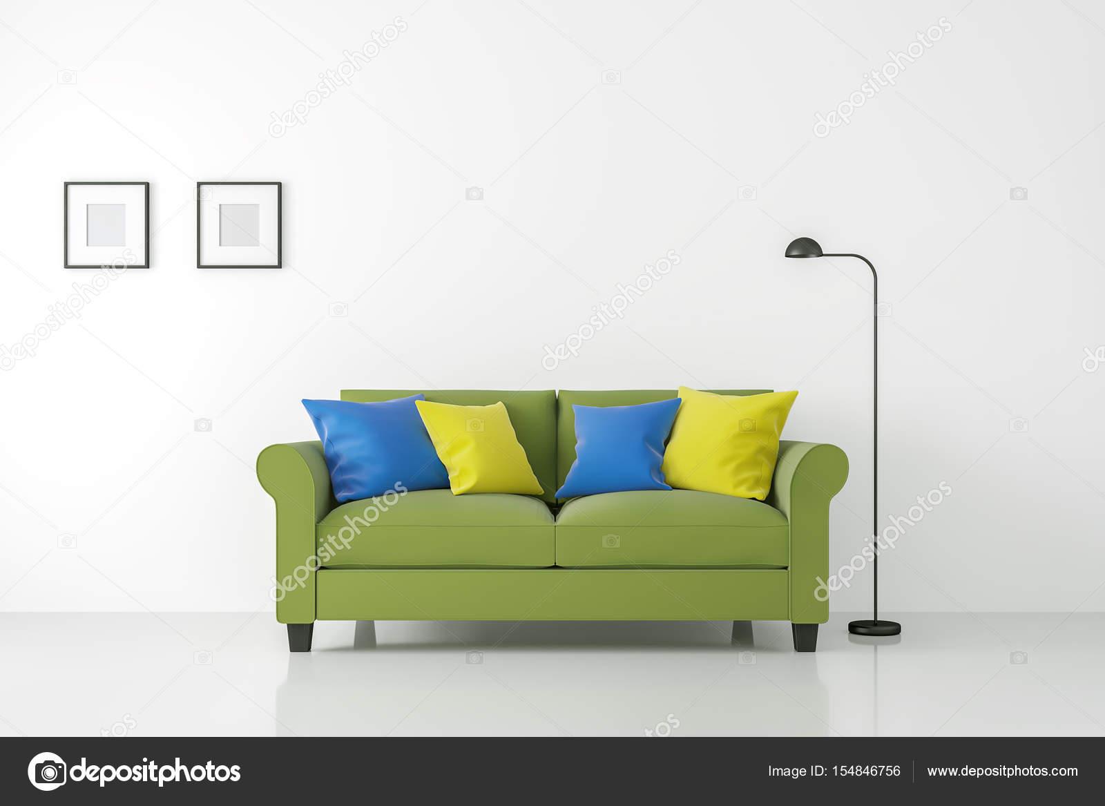 Kleurrijke Witte Woonkamer : Moderne witte woonkamer interieur met kleurrijke sofa 3d rendering