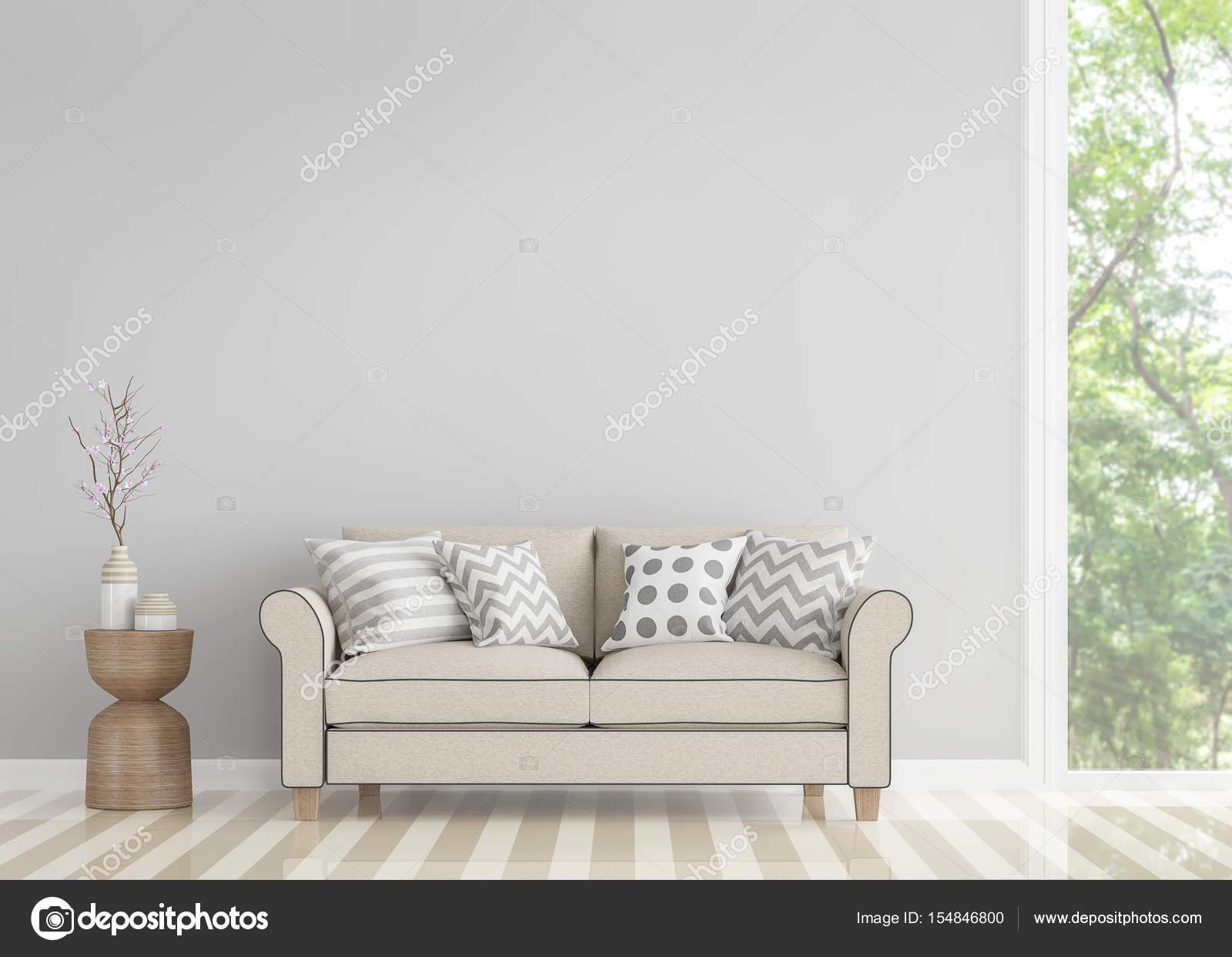 Moderne Vintage Wohnzimmer 3D-Bild rendern — Stockfoto ...