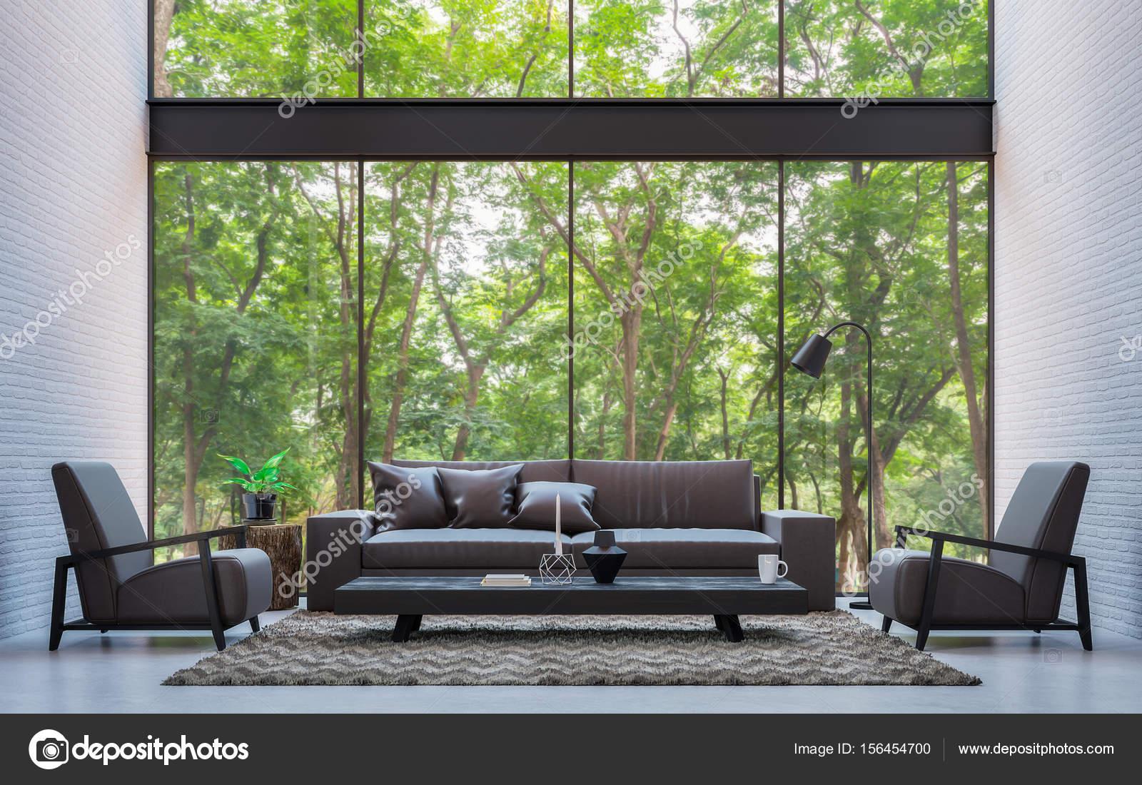 Moderno loft salón con renderizado 3d de vistas de naturaleza — Foto ...
