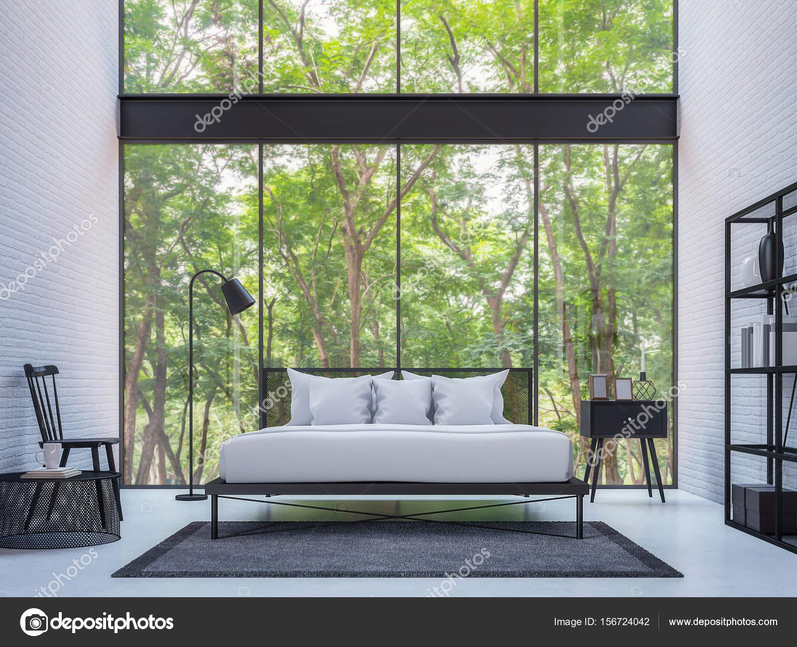 Moderne Loft-Schlafzimmer mit Natur View 3d Rendering-Bild ...