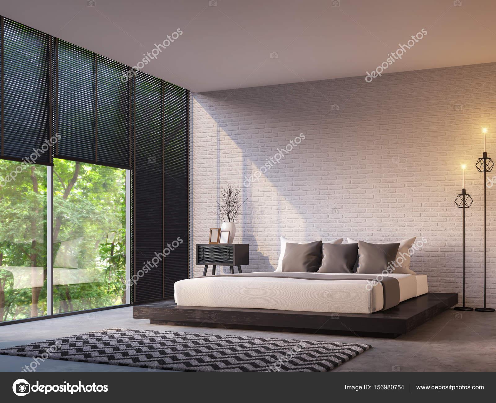 chambre loft moderne avec l'image de rendu 3d de la vue nature