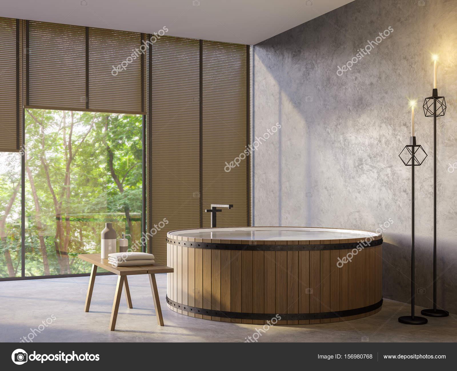 Loft-Stil Badezimmer mit Natur View 3d Rendering-Bild — Stockfoto ...