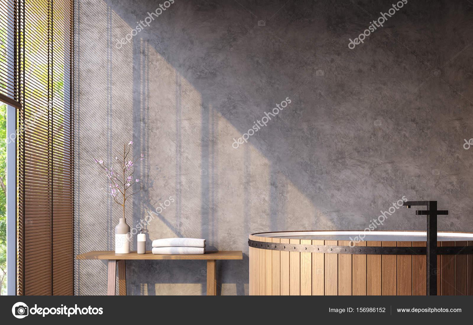 Loft Stil Badezimmer Mit Natur View 3d Rendering Bild Möbliert Mit Holz  Badewanne Hat Betonwände Und Große Fenstern Mit Blick Auf Natur U2014 Foto Von  Onzon