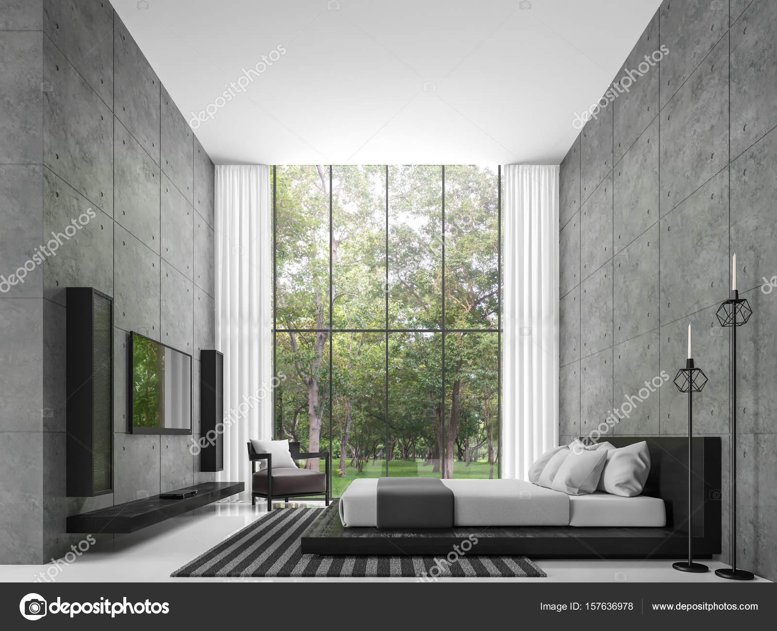 Renderizado 3d de dormitorio de loft modernos Foto de stock