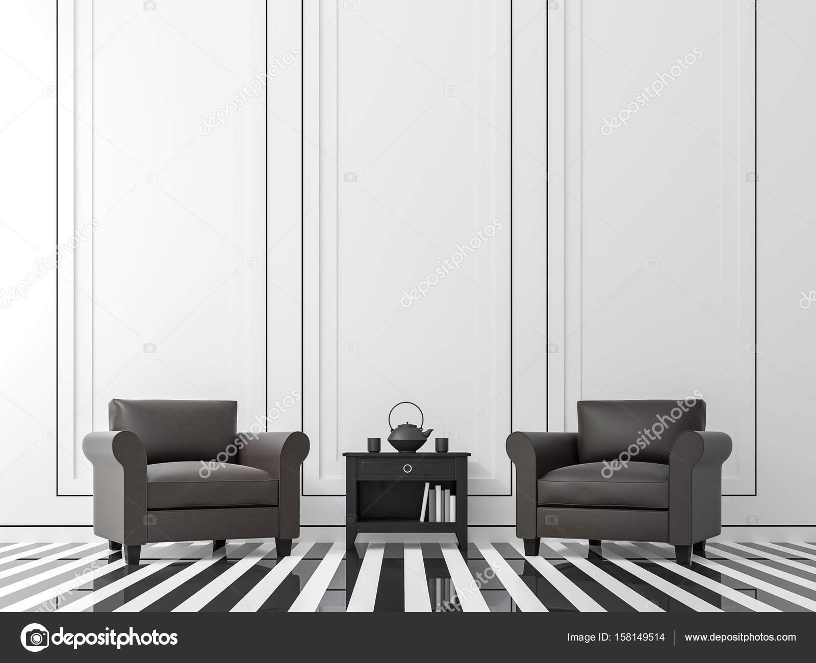 Donkere Vintage Woonkamer : Modern vintage woonkamer met zwart wit afbeelding van 3d rendering