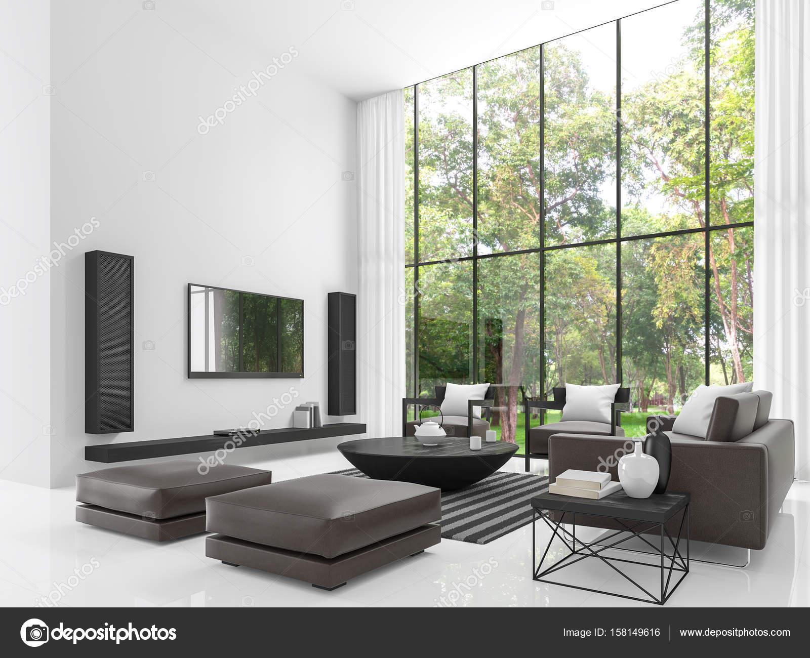 Moderne Weiße Wohnzimmer 3D Bild Rendern U2014 Stockfoto