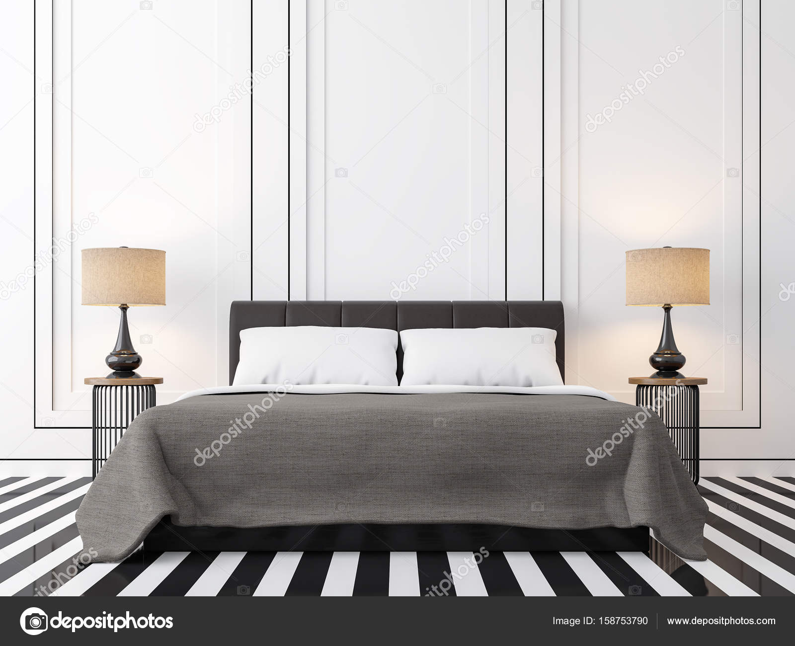 chambre vintage moderne noir et blanc des images de rendu 3d photographie onzon 158753790. Black Bedroom Furniture Sets. Home Design Ideas