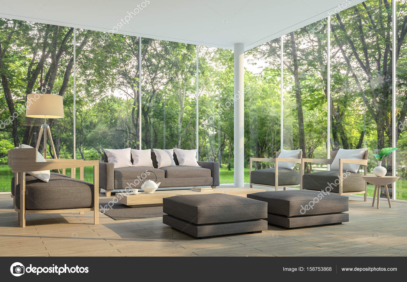 Modern living room with garden view 3d rendering Image Stock Photo