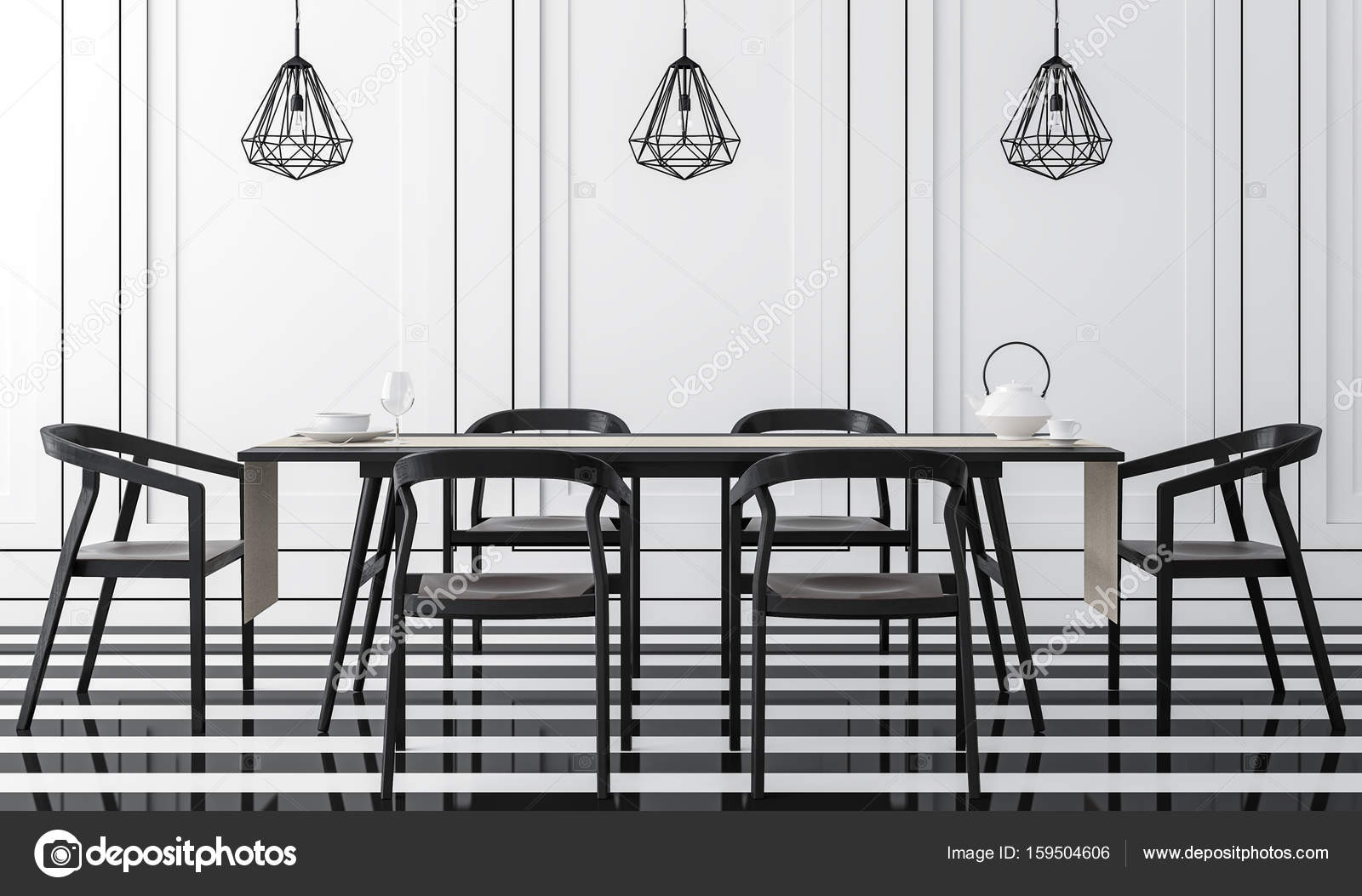 Moderno comedor vintage con blanco y negro 3d renderizado — Foto de ...