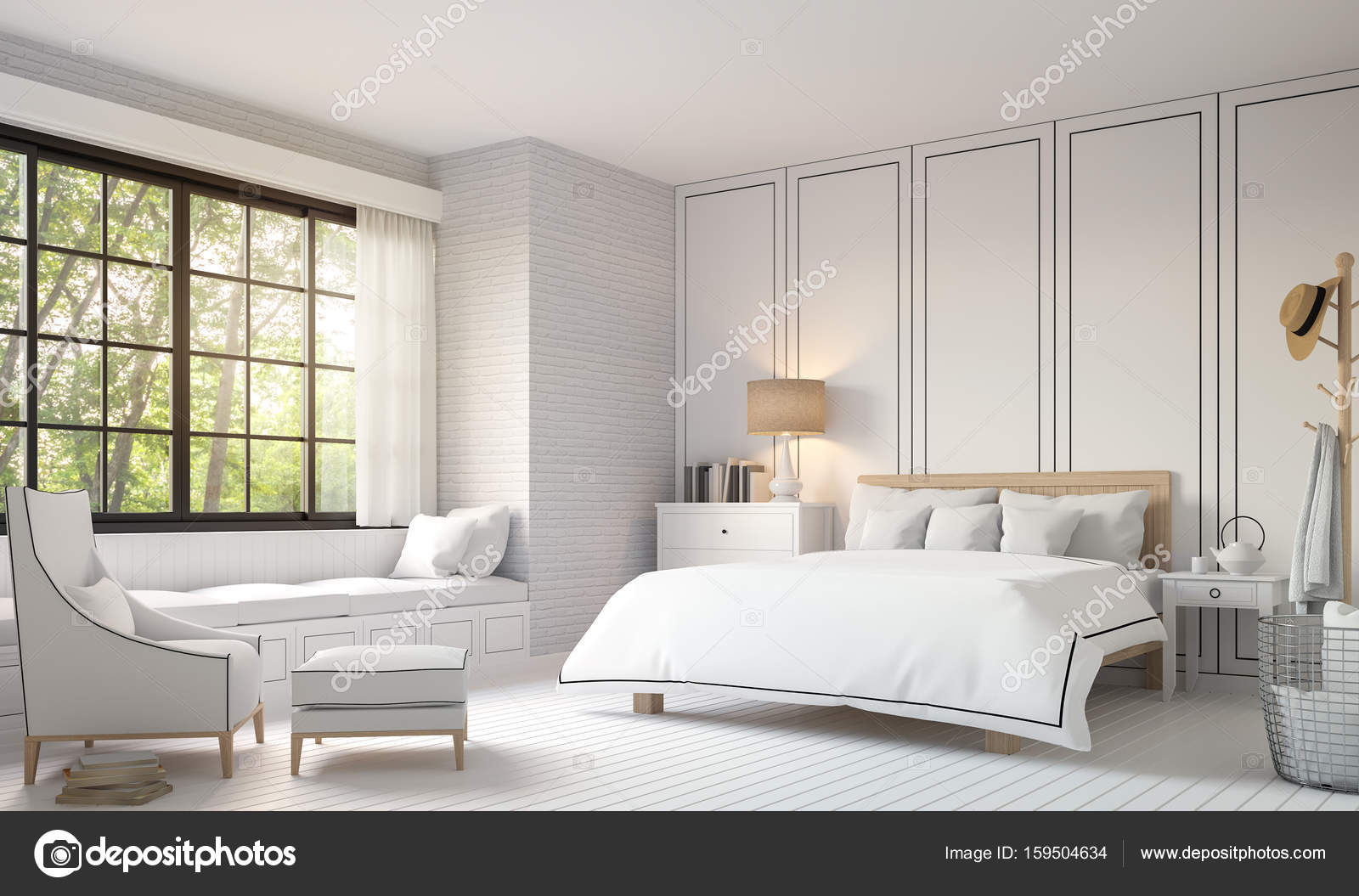 Modern Vintage Bedroom With Black And White 3d Rendering