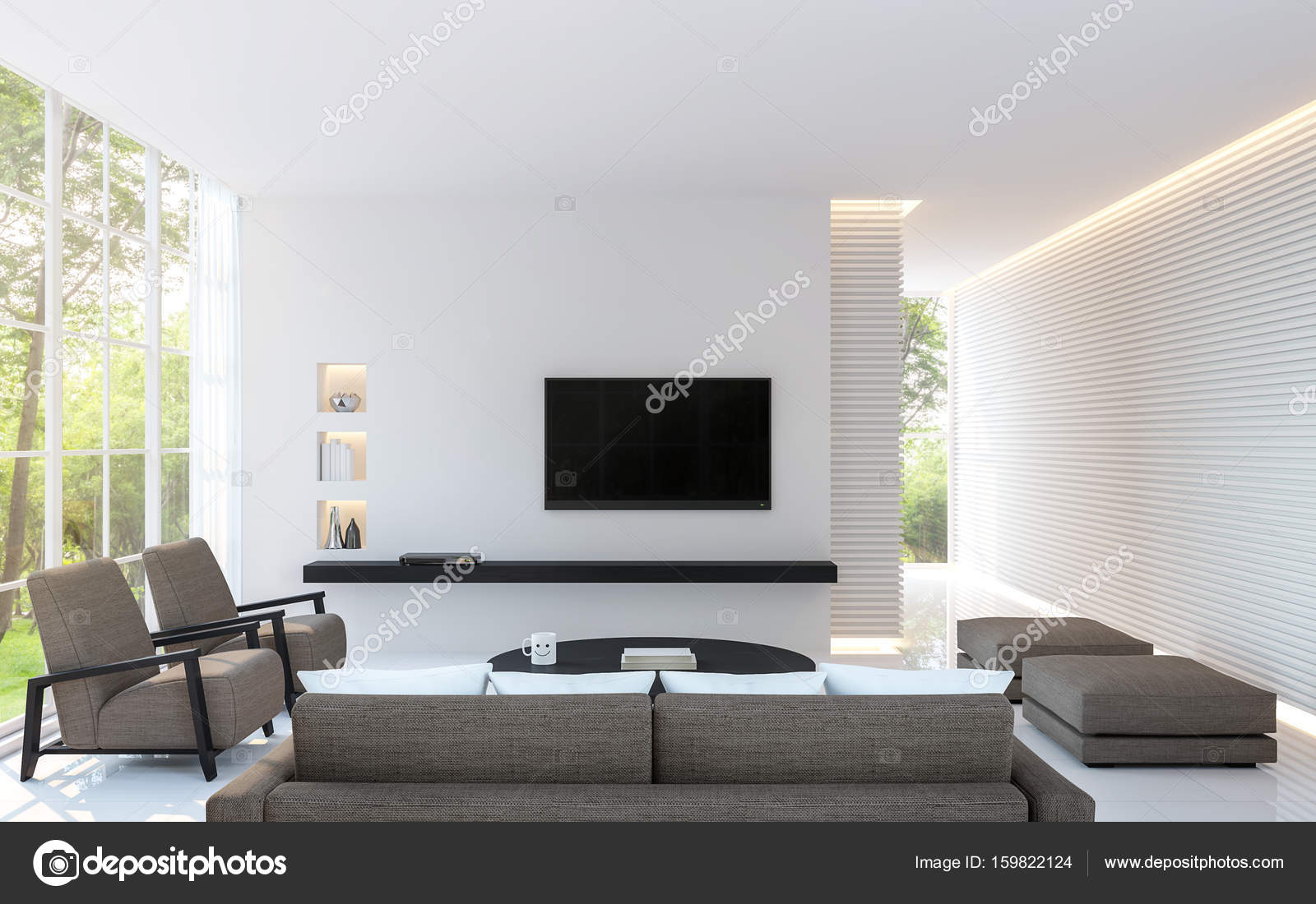 Modern white living room decorate wall with line pattern and hidden ...