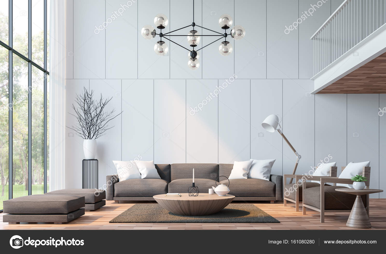 Modern living room with mezzanine 3d rendering image — Stock Photo ...