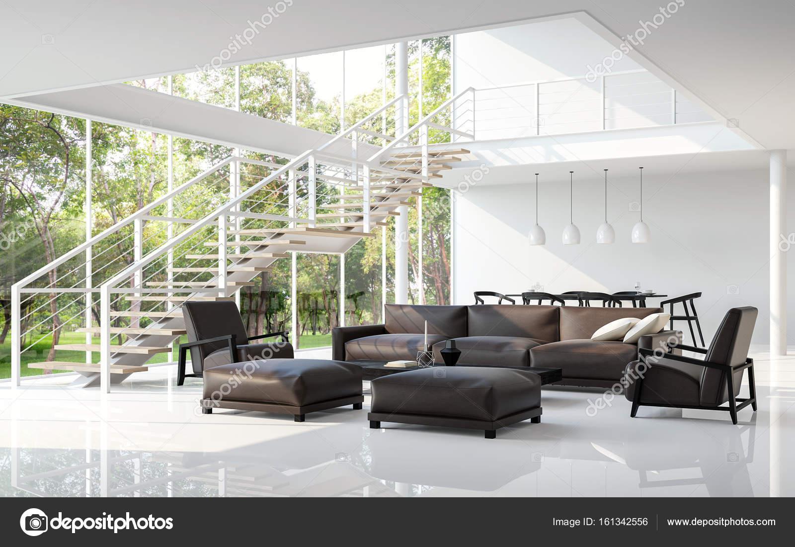 Moderne woonkamer en eetkamer d rendering wit u stockfoto onzon
