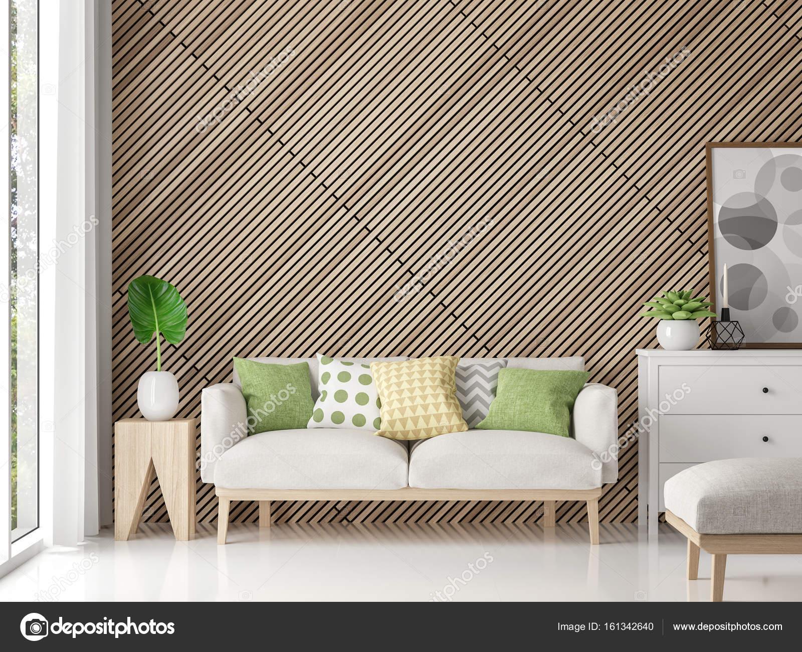 Moderne zeitgenössische Wohnzimmer mit Holz Gitter 3d Render Bild ...