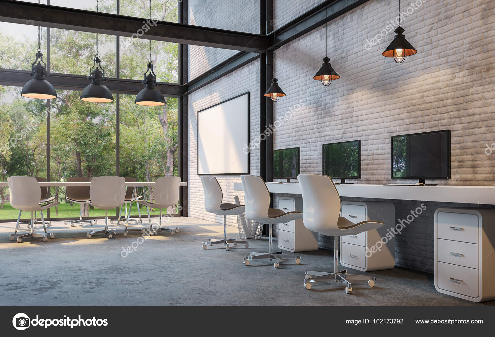 Loft Style Office 3d Rendering Image U2014 Stock Photo
