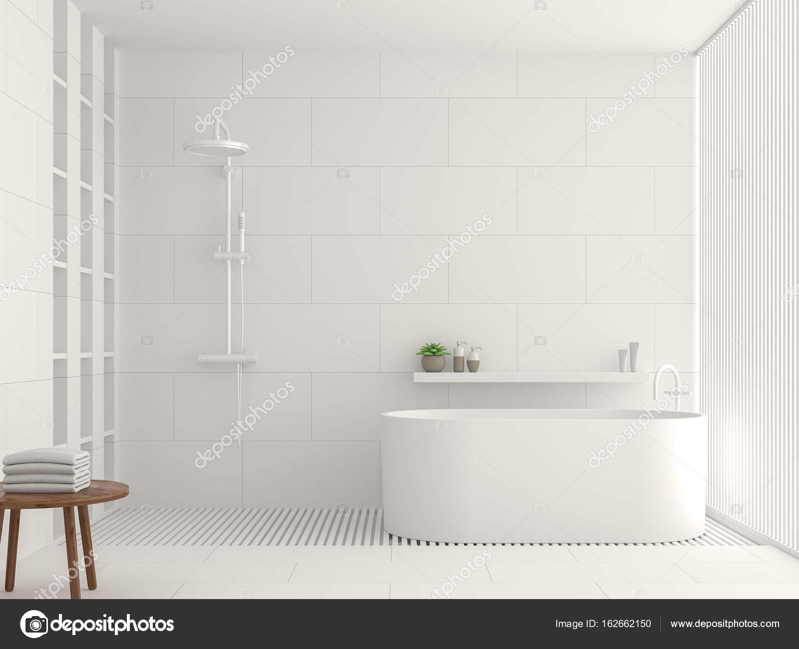 Moderne witte badkamer interieur 3d rendering afbeelding u2014 stockfoto