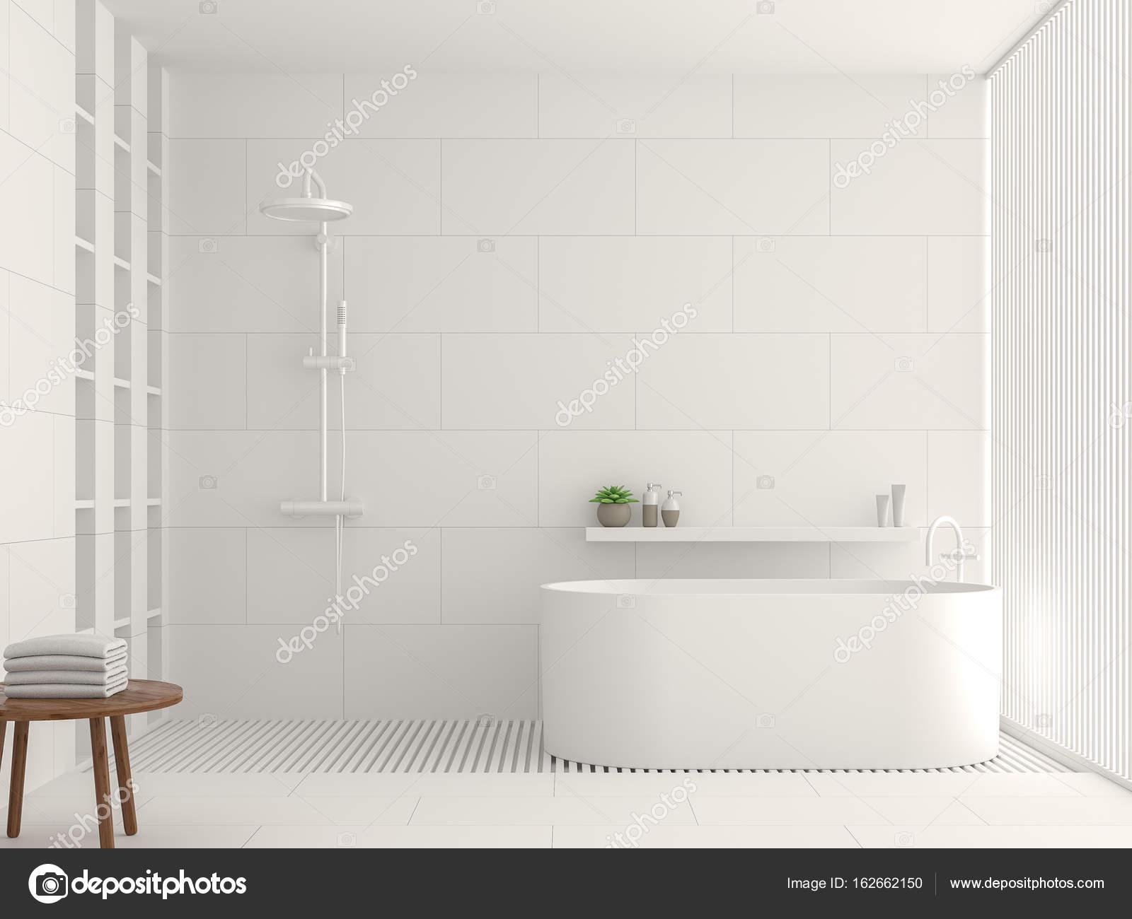 Moderne Witte Badkamer : Moderne witte badkamer interieur 3d rendering afbeelding u2014 stockfoto
