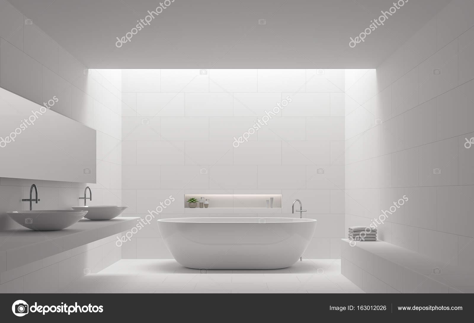 Moderne Witte Badkamer : Moderne witte badkamer interieur minimalistische stijl 3d rendering