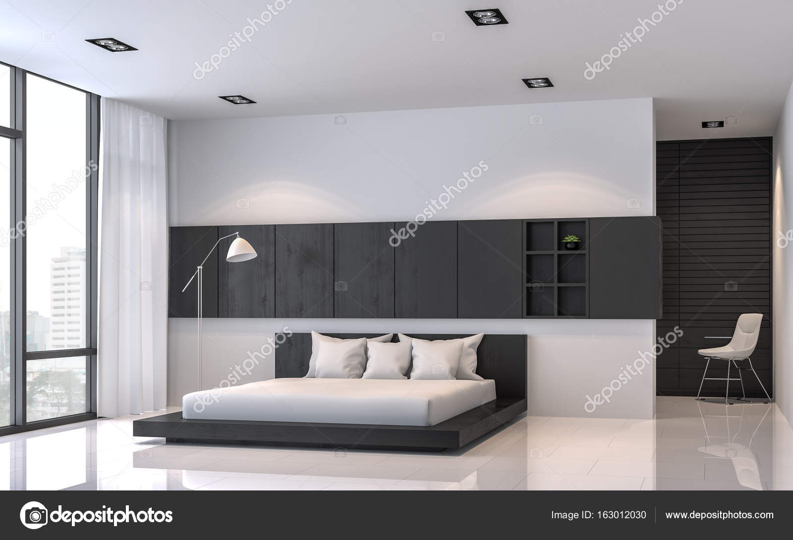 Nowoczesna Sypialnia Czarno Białe Wnętrze Minimalistycznym