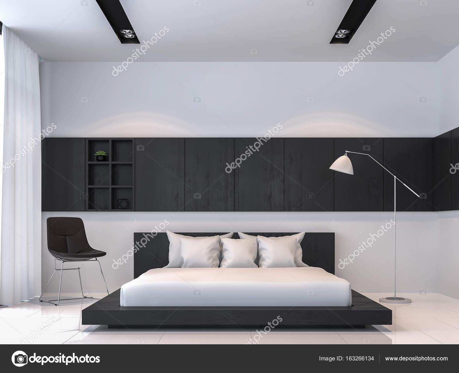 moderne zwart wit slaapkamer interieur minimalistische stijl 3d rendering beeld stockfoto