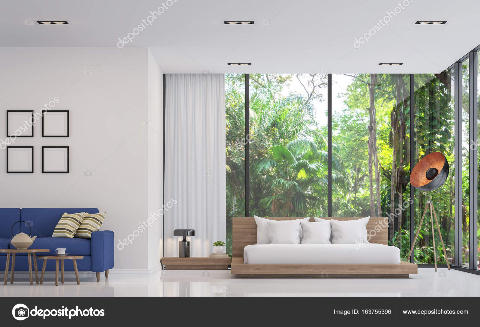 Modern white bedroom and living room with nature view 3d render ...
