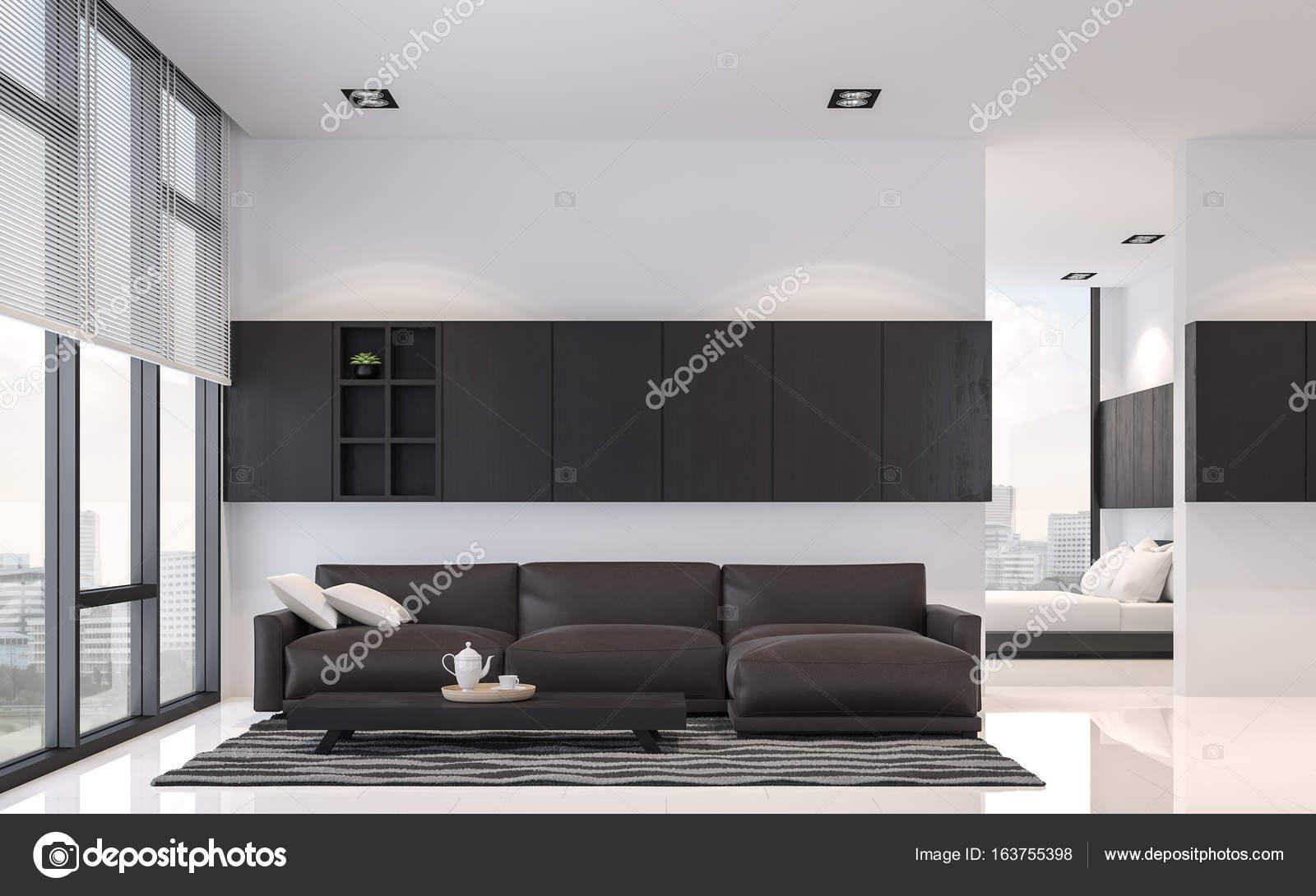 Moderne zwart-wit woonkamer en slaapkamer interieur 3d rendering ...