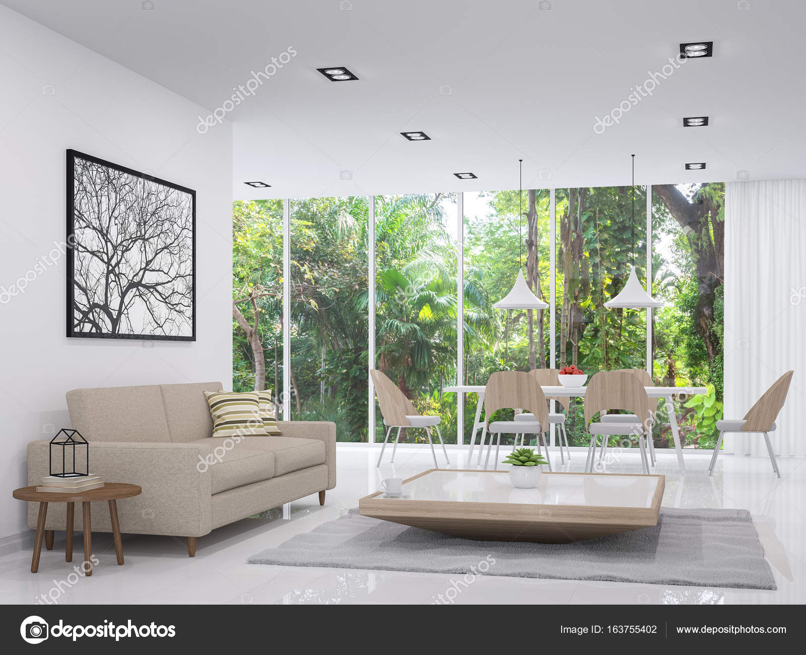 Modern White Living And Dining Room With Nature View 3d Render ImageThere Are Floor There Large Window Overlooking To The Garden
