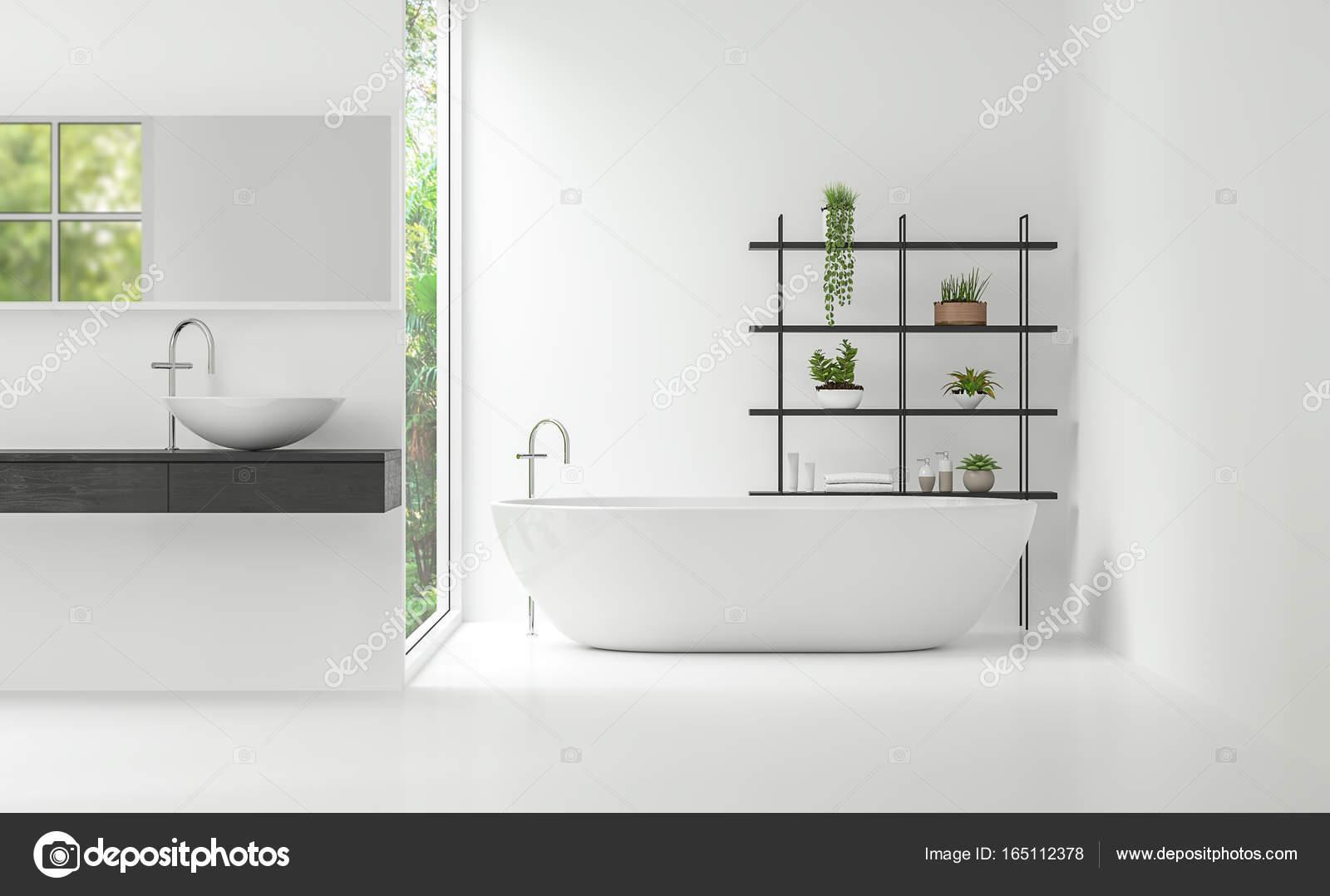 Immagine di rendering d interni stile minimal moderno bagno