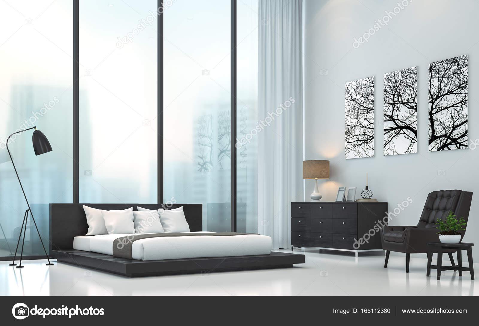 Immagine di rendering 3d di camera da letto bianca moderna — Foto ...