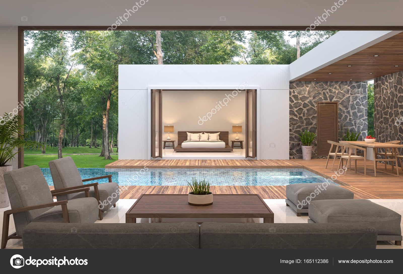 Moderne zeitgenössische Pool Villa Rendering 3D-Bild — Stockfoto ...