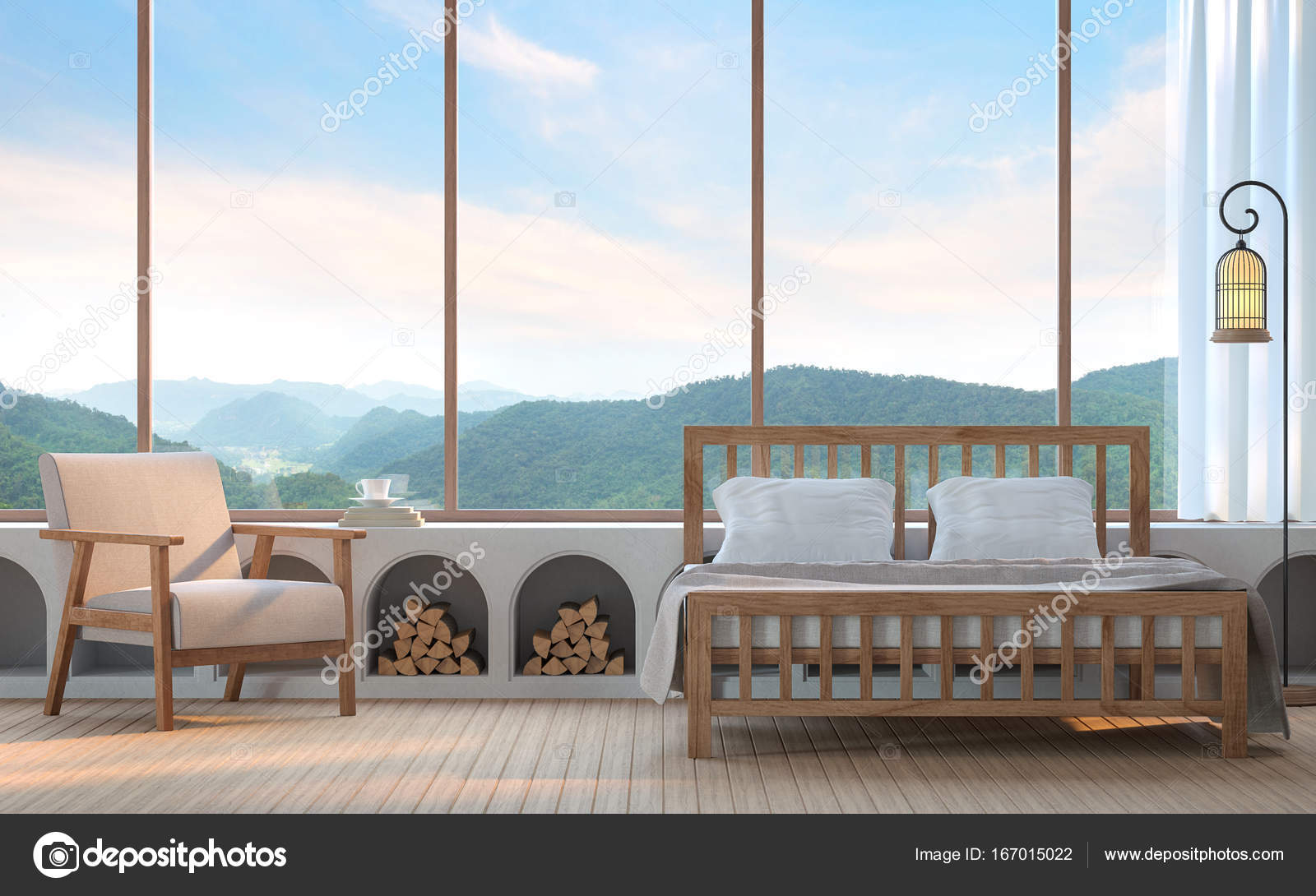 Modern Bedroom With Mountain View 3d Rendering Image. There Are Wood  Floor.Furnished With Fabric And Wooden Furniture. There Are Large Window  Overlooking ...